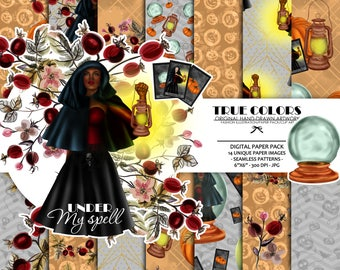 Afro American Witch Halloween African American Woman Halloween Digital Paper Black Beautiful Princess Witch Halloween Orange Paper Pack