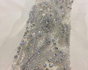 1 yard Rhinestone trim,Applique trim,Bridal Applique,DIY Weddings, Trim, Rhinestone applique, Crystal sash, Bridal sash hand made #81171/HBT