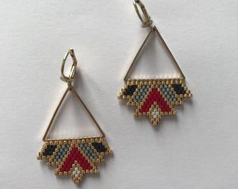 ∎ ALIX ∎ rock earrings - red tones grey and black
