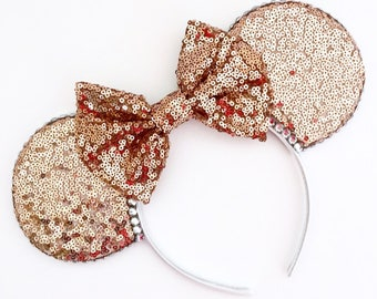 The Full Sequin (Rose Gold) - Sequin Mouse Ears Headband CHOOSE YOUR BOW
