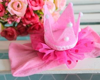 Baby Crown Headband   Pink Headband   Princess Headband  