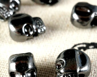 Skull black 8 beads halloween jewellery supplies C287