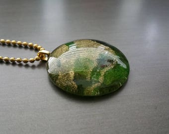Glass Pendant Necklace, Round Pendant Necklace, Handmade Pendant Necklace