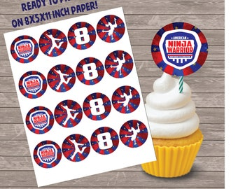 American Ninja Party printable cupcake toppers, Ninja Warrior Birthday Party  American Ninja digital treat toppers