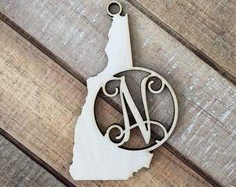 New Hampshire State Christmas Ornament - Monogram NH Ornament - Wood New Hampshire Ornament - Personalized New Hampshire State Ornament