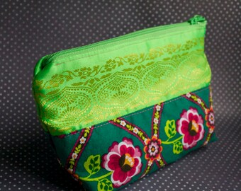 On the Folksy Green - One of a Kind Handmade lined zipper pouch - sari and cotton printed makeup bag -Unique Made in USA Moth & Rust