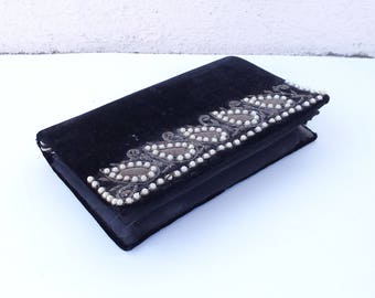 Vintage Black Velvet Purse with Pearls and Decorative Stitching