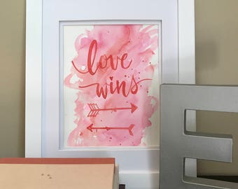 Love Wins Watercolor | arrows | pink | red | hand painted