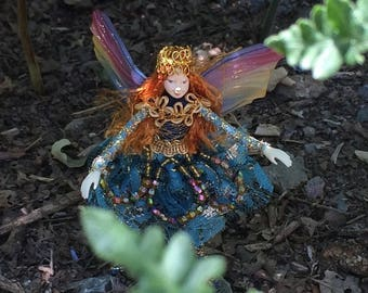 "Fae Folk® Fairies - WHISPER - Jewel Fairy. Bendable, posable 5"" soft doll can sit, stand, or hang."