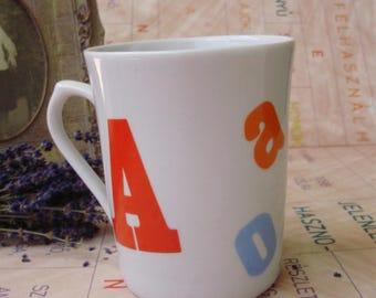 Vintage, porcelain  mug/glass,Letter decor