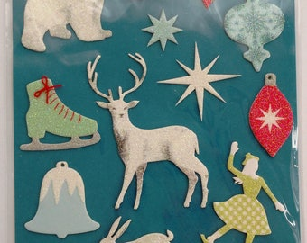Frosty Elegance Glittered Icon Stickers from Martha Stewart Crafts, Winter Stickers, Christmas Stickers