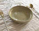 Ceramic Shallow Pasta Bowl - Spotty Gloss Beige Green