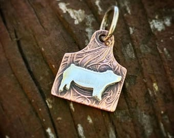 Copper and Sterling Eartag Pig Necklace