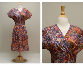 80s Does 30s Vintage Dress ⎮ 1930s Style Day Dress ⎮ Batik Print Cotton Dress ⎮ Purple Floral Midi Dress