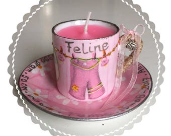 Birth candle in decorated cup and saucer. Made to order.