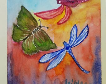 Dragonfly art, Butterfly wall art, Dragonfly painting, dragonfly watercolor, blank thank you card, all occasion cards, blank greeting cards