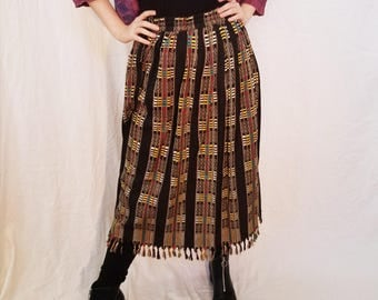 80s Skirt. Tribal Skirt. Midi Length. Black Multi-color skirt. Made in India. Size Medium