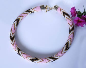 Beaded Crochet Necklace Choker Rope Gift for Her Boho Style Jewelry Ethnic Gift for Mom Pink Dreams