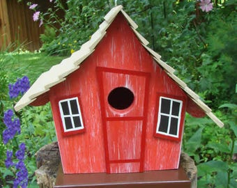 Whimsical Birdhouse Red, Wooden Birdhouse, Painted Birdhouse, Outdoor Birdhouse, Unique Birdhouse, Bird House