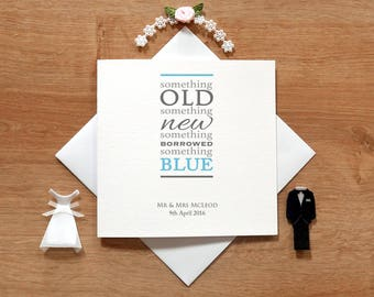 Personalised Something Old, New, Borrowed, Blue Wedding Card - Newly Wed Cards - Cute Wedding Cards - Bridal Party - Wedding Party