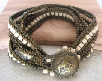 Wrap Around Seed Bead Bracelet with Button Closure