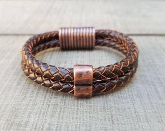 Leather bracelet; Men's bracelet; Unisex bracelet; Brown bracelet; Braided leather; Mens bracelet; Men's jewellery; Magnetic bracelet