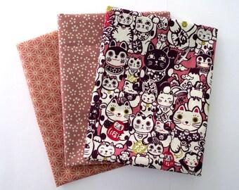 Set of 3 coupons 45 x 35 cm Japanese fabric - cat manekineko - purple and pink