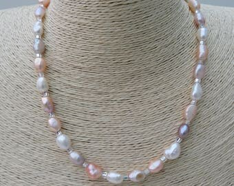 Pastel Pearl Necklace with magnetic clasp