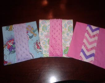 Set of 3 Baby Girl Under the Sea Burp Cloths with Disney's Ariel the Little Mermaid, Tropical Fish, Pink and Purple Chevron