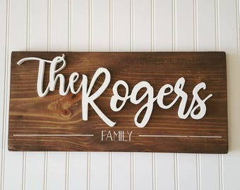 CUSTOM Family Name Sign   Hand Cut   Home Decor   Wedding Gift    Housewarming Gift