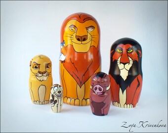 Nesting doll Lion King Geek Gift Matryoshka Mufasa Simba Scar Timon and Pumbaa Матрешка Король Лев