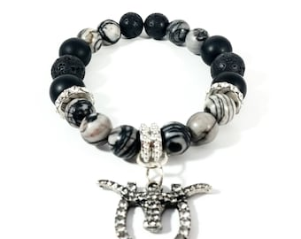 Range of Bling~ Handmade Stretch Charm Bracelet~ Genuine Spider Web Jasper, Black Onyx, Lava~ Rhinestone Bullhorn Charm~ Sterling Silver