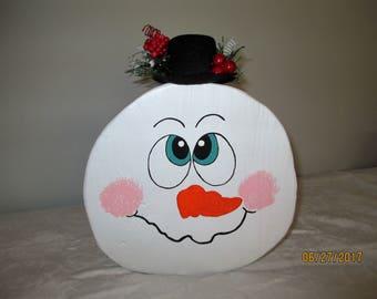 Handmade, Rustic, Wood Round Snowman