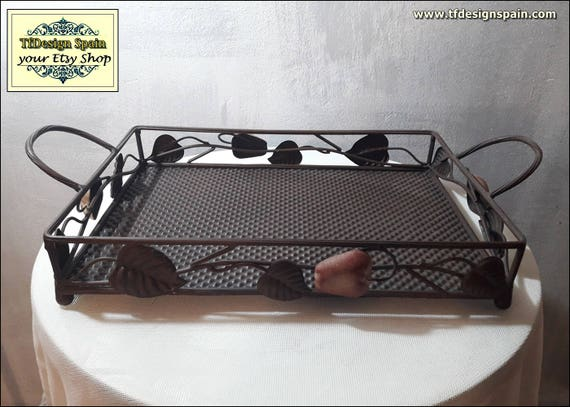 Metal tray decorative, Metal tray, Metal tray coffee table, Metal tray Etsy, Metal serving tray, Metal tray handles, Metal kitchen tray