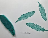 Rubber stamp, hand carved stamp, mounted on wood, feather