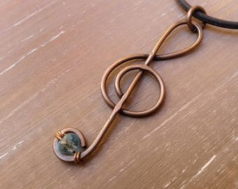 Copper, copper pendant pendant, treble clef, antiqued copper, women gift, aquamarine Crystal