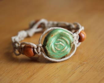 Green and Brown Hemp Bracelet for Small Wrist - Inexpensive Gift Idea - Comfortable and Casual Jewelry
