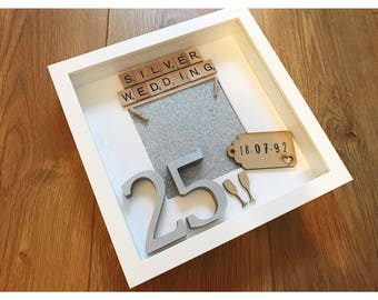 silver wedding anniversary gift, 25 years, personalised anniversary, anniversary present, silver anniversary