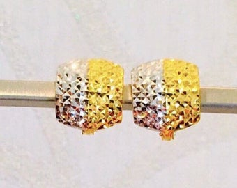 12mm Diamond cut 2 tones Solid 22k gold purity earrings 916 gold