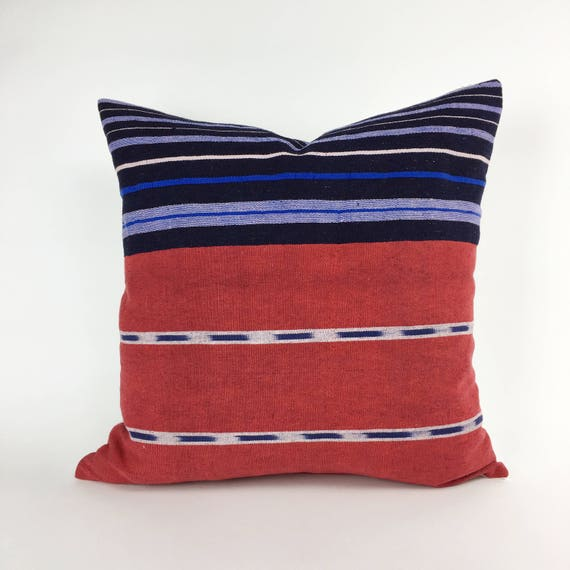20 x 20 Red and Blue Striped Pillow Cover from Vintage Nigerian Cloth