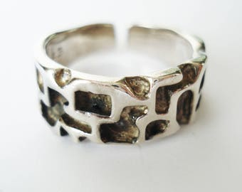 Studio Else & Paul Sterling Silver Ring. Norway, Scandinavian Design, Brutalist Modernist.