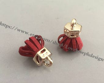 20pieces red suede leather KC gold caps ear tassel --for length 30mmx20mm(#0186)