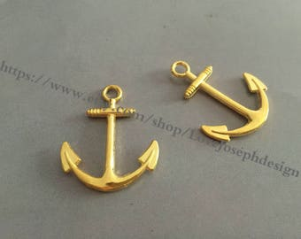 wholesale 100 Pieces /Lot Antique Gold Plated 31mmx24mm Nautical Small Anchor Charms (#0318)