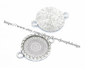 Wholesale 100 Pieces /Lot Antique Silver Plated 20mm cabochon blanks trays link connectors (#0309)