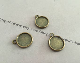 8mm(both side)-- Wholesale 100 Pieces /Lot Antique Bronze Plated 8mm(both side) cabochon trays charms(#0399)
