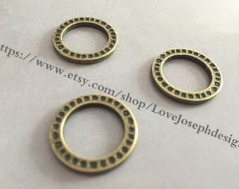 wholesale 100 Pieces /Lot Antique Bronze Plated 20mm (both side)round circle Charms(#0539)