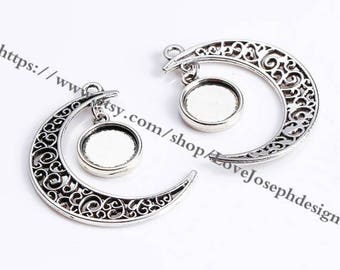 wholesale 50 Pieces(Set) Antique Silver & Bronze Plated 22mmx30mm moon and 12mm cabochon bezel trays charms (#0931)