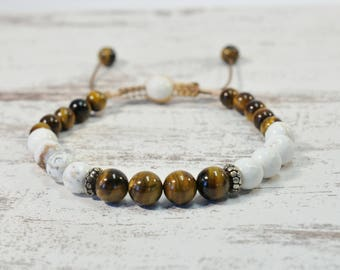 Urban Men's Howlite & Tiger Eye Pull Tie Single Bracelet. Boho Jewelry. Bohemian Jewelry. Ideas for him. Gift for him.