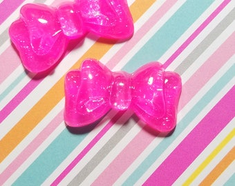 2pcs- 35mm hot pink glitter bow cabochon resin flatback accessories kawaii jewelry supply decoden supplies phone case