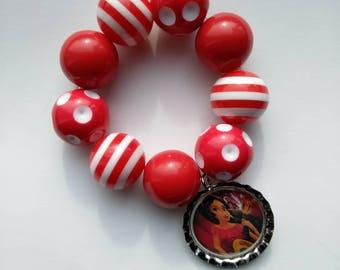 Elena of Avalor inspired bracelet - kids jewelry - baby bracelet - charac bracelet - red white bracelet - custom jewelry -  gumball bracelet